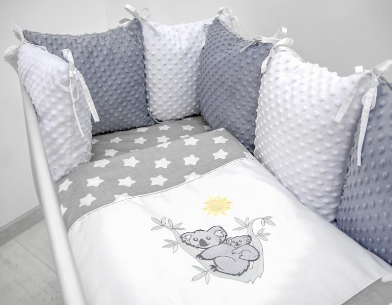 Polštářkový mantinel s Minky s povlečením s vyšívkou  - šedá,bílá,hvězdičky V - Koala.