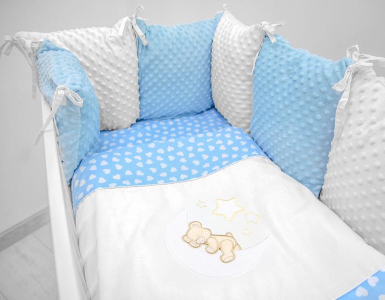 Polštářkový mantinel s Minky s povlečením s vyšívkou  - modrá,bílá,srdíčka - Měsíček