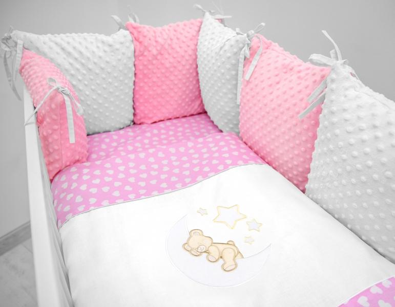 Polštářkový mantinel s Minky s povlečením s vyšívkou  - růžová,bílá,srdíčka - Měsíček.