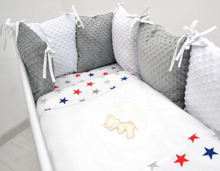Polštářkový mantinel s Minky s povlečením s vyšívkou  - bílá,hvězdičky gran/čer - Měsíček
