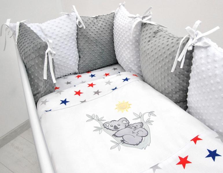Polštářkový mantinel s Minky s povlečením s vyšívkou  - bílá,hvězdičky gran/čer - Koala