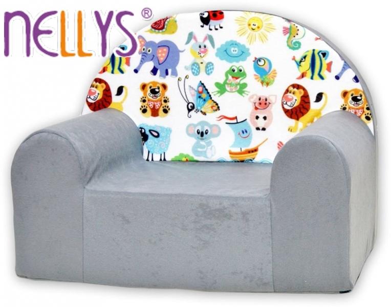 Náhradní potah na dětské křeslo Nellys  - Veselá zvířátka v šedé