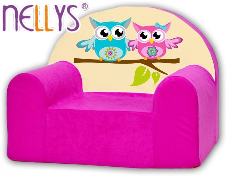 Náhradní potah na dětské křeslo Nellys - Sovičky Nellys růžové