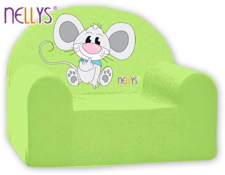 Náhradní potah na dětské křeslo Nellys - Myška v zeleném