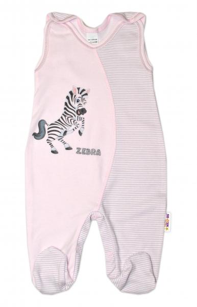 Baby Nellys Kojenecké bavlněné dupačky, Zebra - růžové