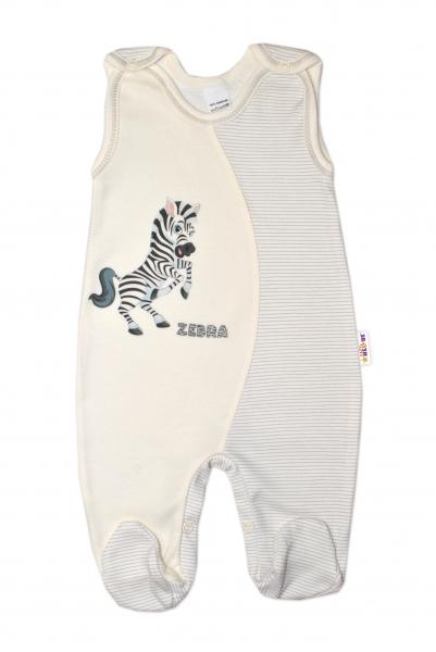 Kojenecké bavlněné dupačky, Zebra - smetanové, vel. 56