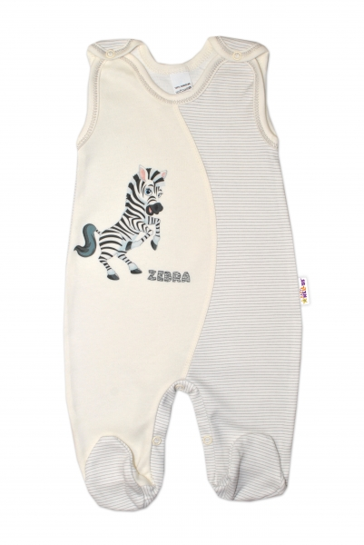 Baby Nellys Kojenecké bavlněné dupačky, Zebra - smetanové, vel. 74vel. 74 (6-9m)