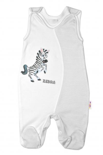 Kojenecké bavlněné dupačky, Zebra - bílé