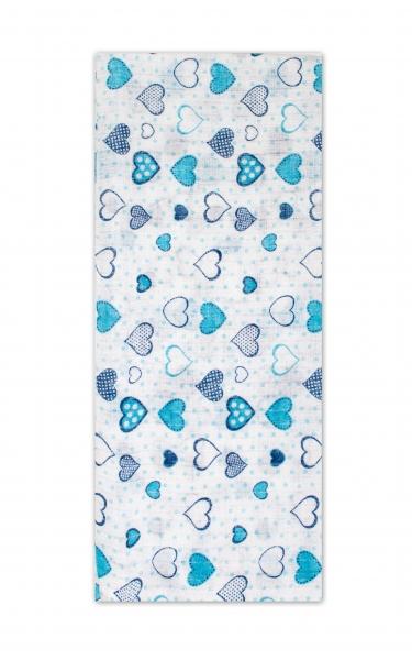 Darland Tetrová plenka Basic 70x80cm - Srdíčka modrá