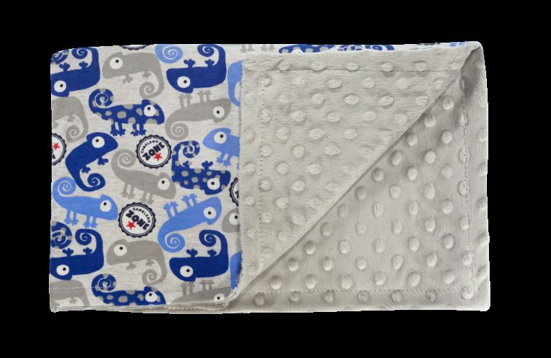 Dětská deka, dečka Chameleon, 80x90 - Minky/bavlna, modrá