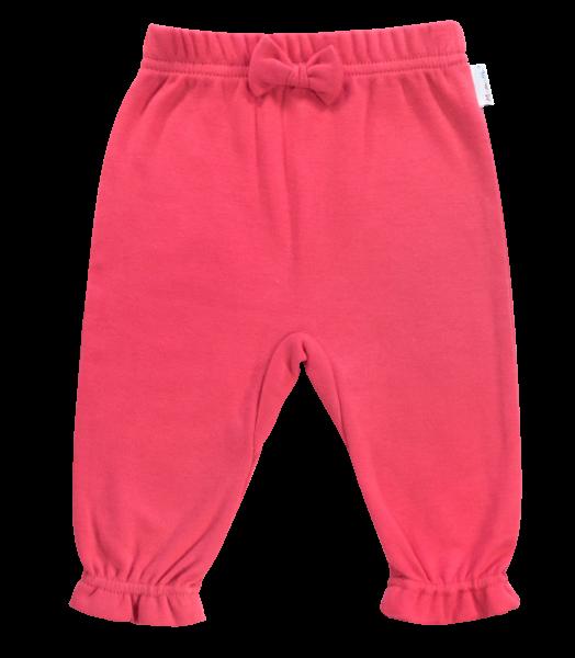 Mamatti Bavlněné tepláčky s mašličkou Love Girl, červené, vel. 62vel. 62 (2-3m)