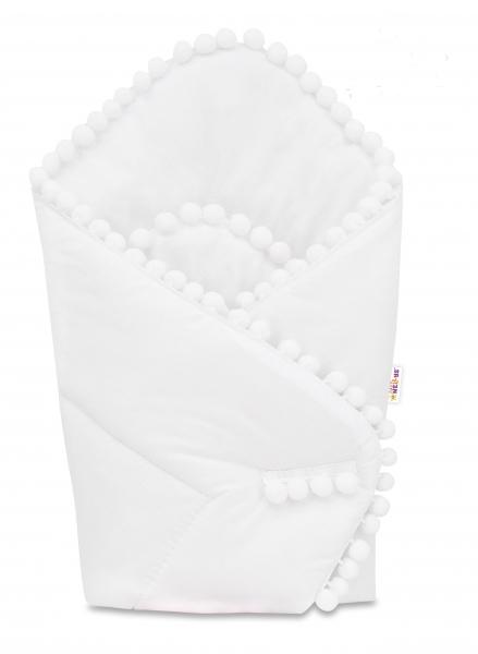 Novorozenecká bavlněná zavinovačka s bambulkami, 75x75cm - bílá