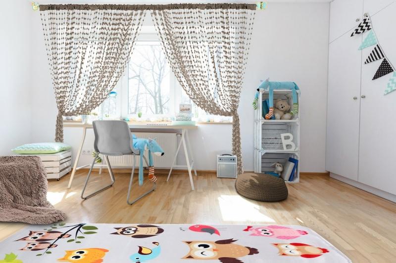 Dětská záclona nejen do pokojíčku Baby Ball, 250x240 cm, mocca - 1ks