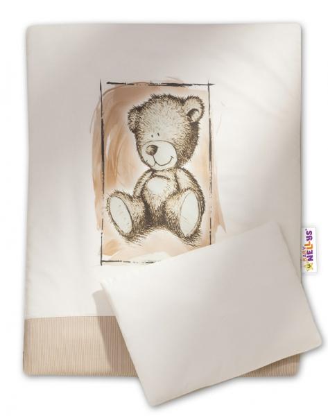 Baby Nellys 2-dílné povlečení do kočárku Sweet Dreams by Teddy - písek