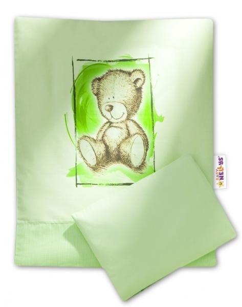 Baby Nellys 2-dílné povlečení do kočárku Sweet Dreams by Teddy - zelené