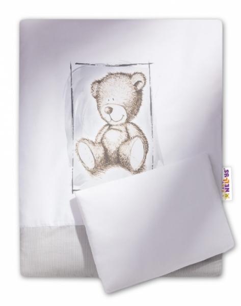 Baby Nellys 2-dílné povlečení do kočárku Sweet Dreams by Teddy - šedé