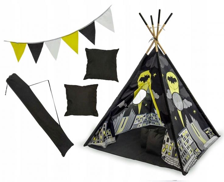 Stan pro děti teepee, týpí s výbavou - Batman, 120x120x180 cm, černý