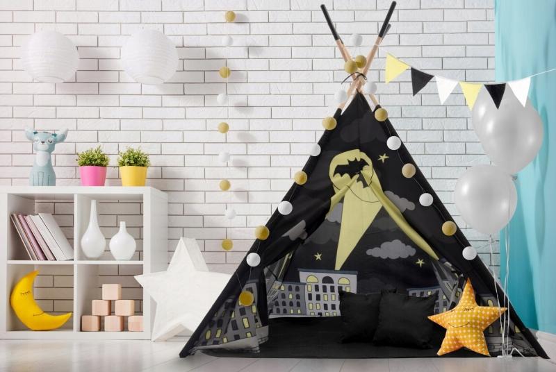 Kids Stan pro děti teepee, týpí s výbavou - Batman, 120x120x180 cm, černý