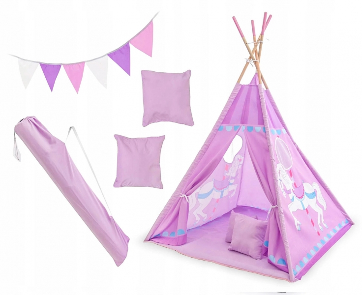 Kids Stan pro děti teepee, týpí s výbavou - Kolotoč, 120x120x180 cm, fialový