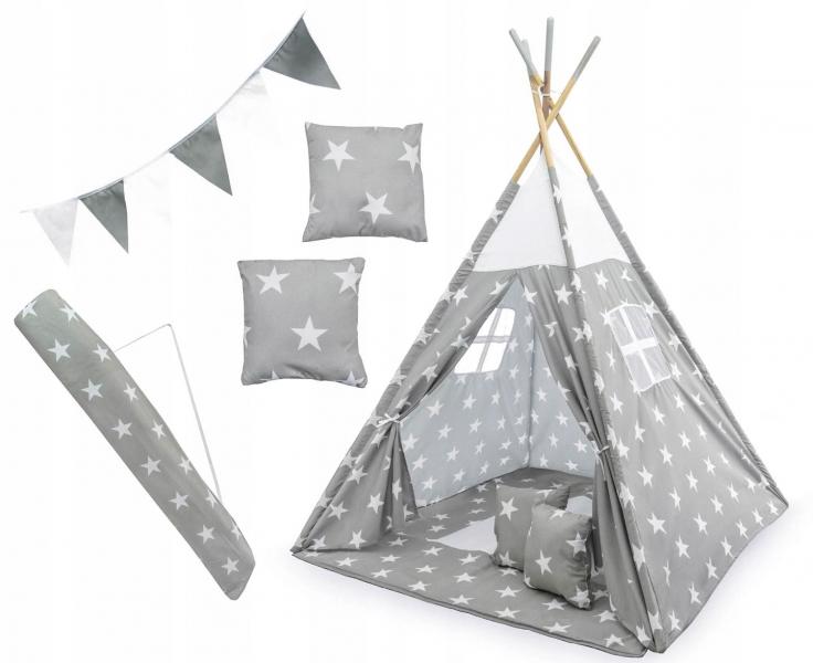 Kids Stan pro děti teepee, týpí s výbavou - Hvězdičky, 120x120x180 cm, šedo/bílý