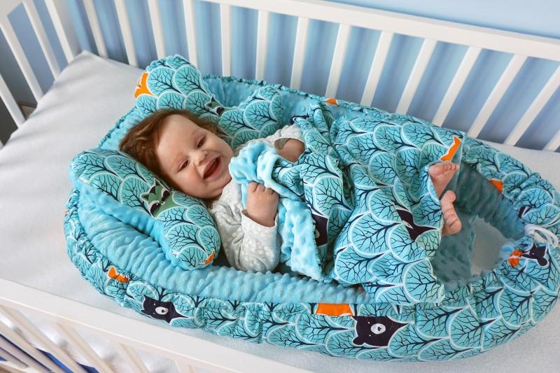 Baby Nellys Sada komplet - oboustranné hnízdečko minky 60x90cm - Mickey, minky šedá/grafit