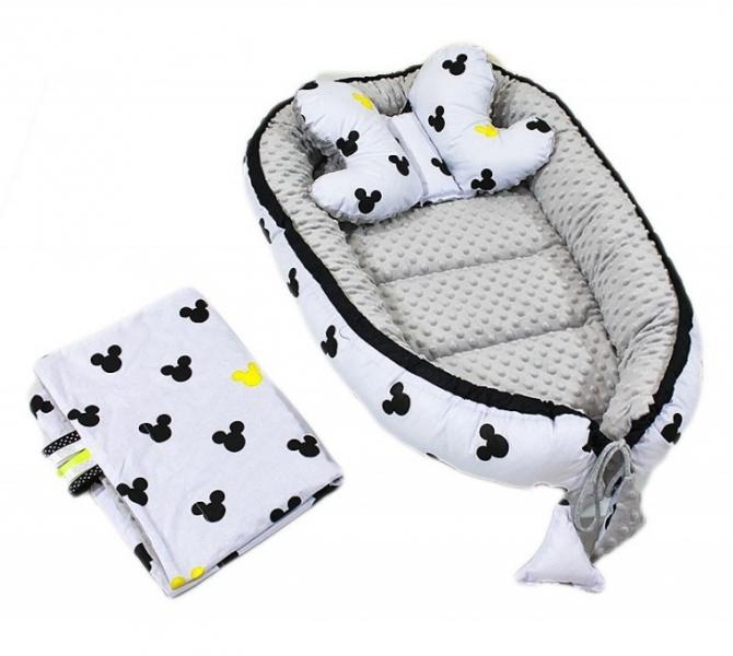 Baby Nellys Sada komplet - oboustranné hnízdečko minky 60x90cm - Mickey, minky šedá