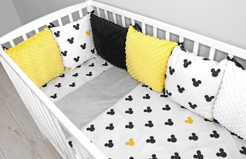 Baby Nellys Polštářkový mantinel minky s povlečením, 135x100 - Mickey, žlutá, Velikost: 135x100