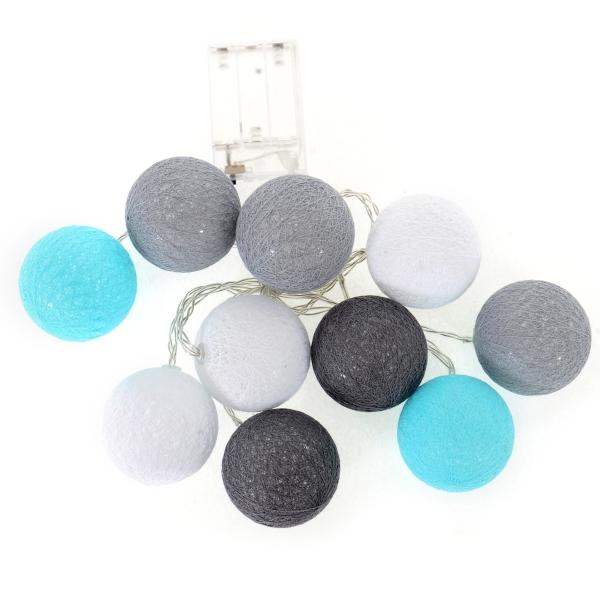 Cotton Balls - svítící koule, tm. šedá/šedá/bílá/mátová, 10ks