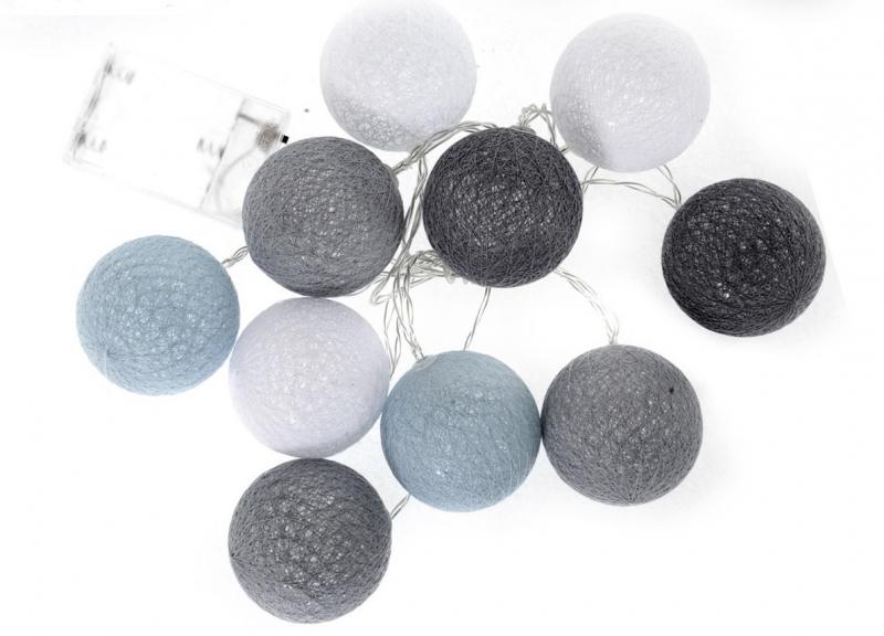Cotton Balls - svítící koule, tm. šedá/šedá/bílá/sv. šedá, 10ks