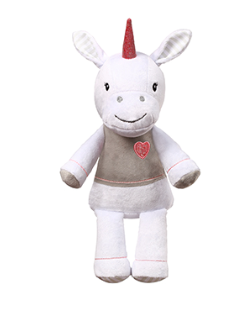 Plyšová hračka s chrastítkem Jednorožec, 30cm - bílý