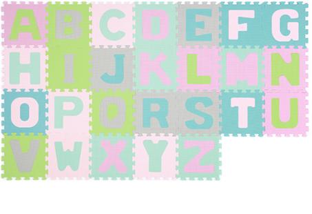 Dětské pěnové puzzle Abeceda, 26 ks - pastelové