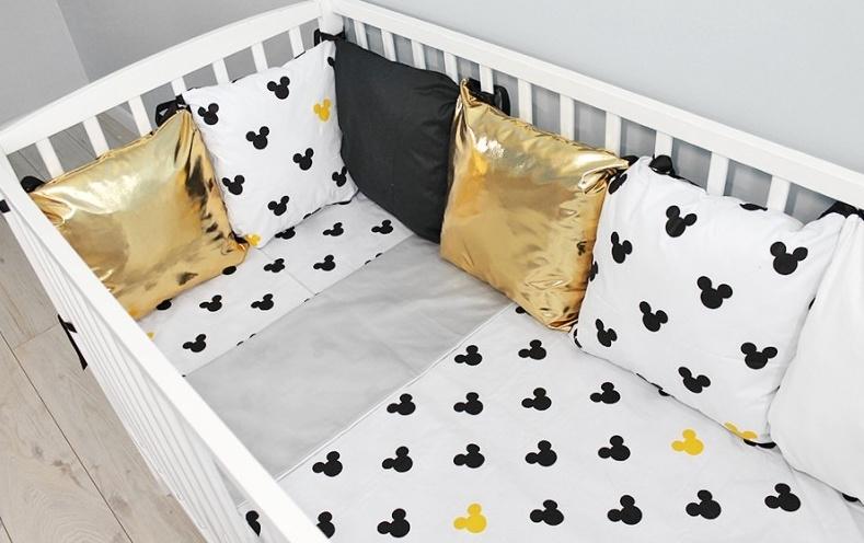 Baby Nellys Polštářkový mantinel s povlečením Shine  - Mickey, žlutá
