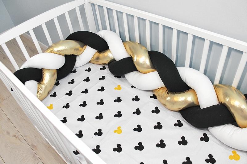 Baby Nellys Mantinel pletený cop shine s povlečením Mickey - bílá, zlatá, černá