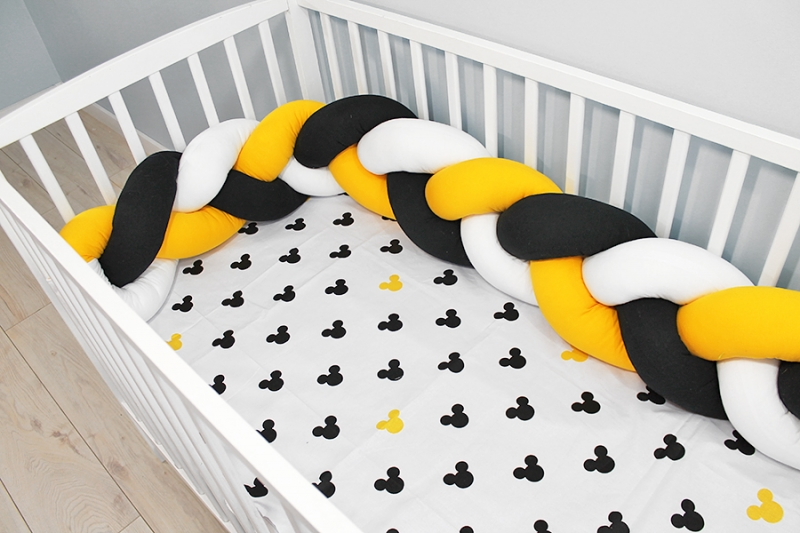 Baby Nellys Mantinel pletený cop s povlečením Mickey, 135x100 - bílá, žlutá, černá