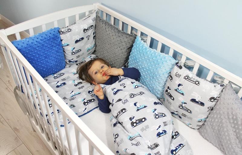Baby Nellys Mantinel pletený cop s povlečením Závody, 135x100  - modrá, šedá