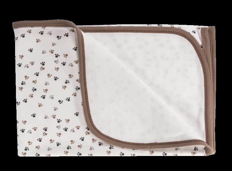 Dětská deka, dečka Tlapka,  80x90 - bavlna, bílá/hnědá