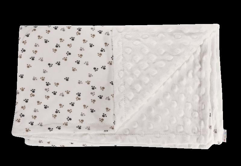 Dětská deka, dečka Tlapka, 80x90 - Minky/bavlna, bílá
