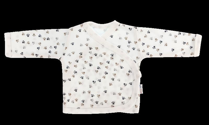 Mamatti Novorozenecká košilka Tlapka - zapínání bokem, bílá