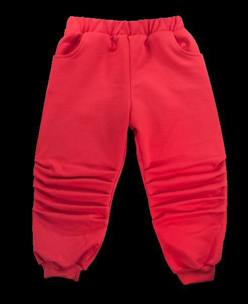 Bavlněné tepláčky s kapsami Tlapka - červené, vel. 80, Velikost: 80 (9-12m)