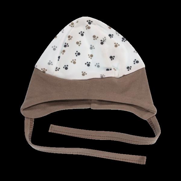 Čepička na zavazování Tlapka, bílá/hnědý lem, vel. 68, Velikost: 68 (4-6m)