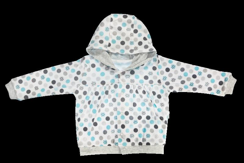 Mikinka Bubble Boo - zapínání uprostřed, tyrkys/šedá, vel. 74, Velikost: 74 (6-9m)