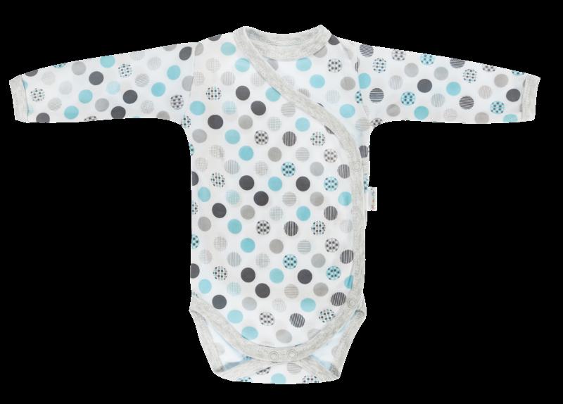 Body Bubble Boo - dl. rukáv - zapínání bokem, šedá/tyrkys, Velikost: 56 (1-2m)