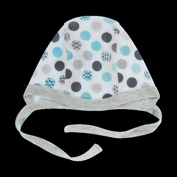 Novorozenecká čepička Bubble Boo, šedá/tyrkys