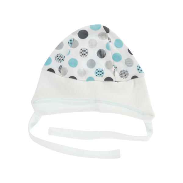 Mamatti Čepička na zavazování Bubble Boo, tyrkys/bílý lem, vel. 62