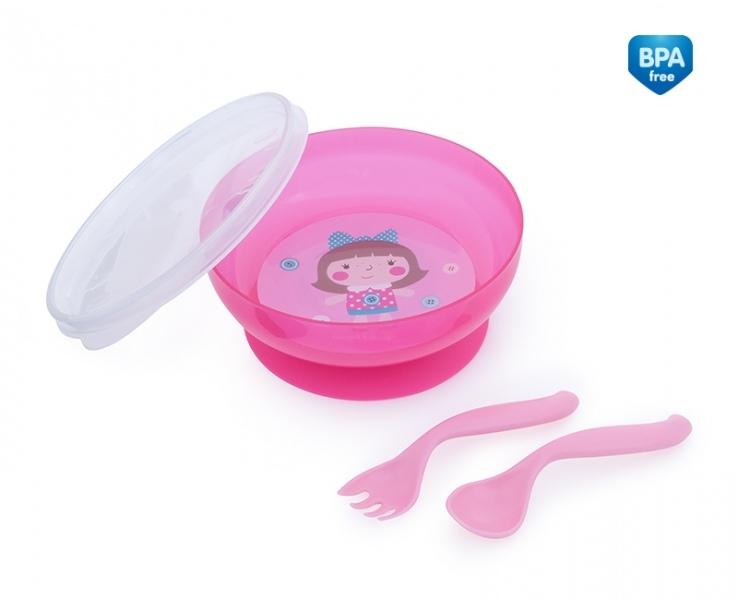 Canpol babies Uzavíratelná miska s lžičkou a vidličkou Toys - růžová