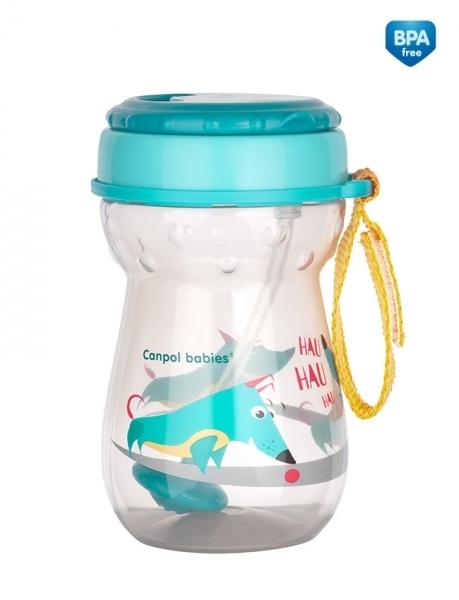 Canpol babies Sportovní nekapající láhev se slámkou Pejsek - tyrkysová