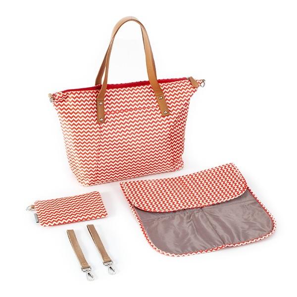 Canpol babies Přebalovací taška ke kočárku - červená/zigzag