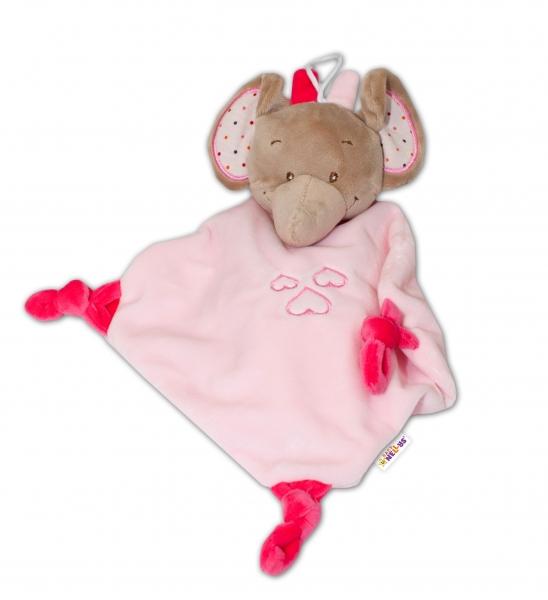 Tulilo Přítulníček, mazlík s chrastítkem Slon, 1 ks - růžový, K19