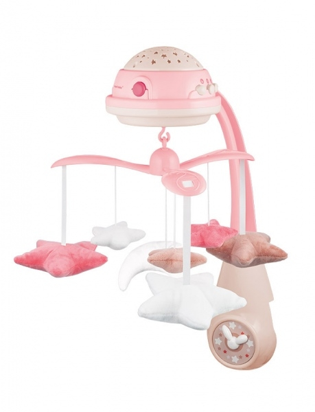 Canpol babies Kolotoč nad postýlku s projektorem Hvězdičky - růžové