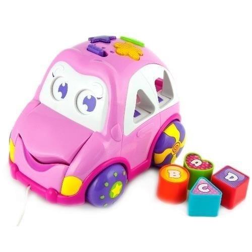 Smily Play Dětská hračka, vkládačka Veselé autíčko - růžové